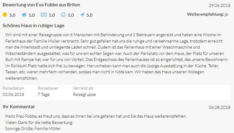 Bewertungen von Eva Fobbe aus Brilon