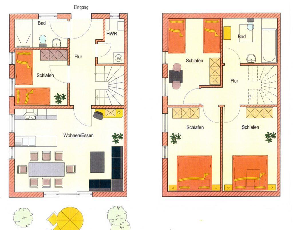 Gelungene Zimmeraufteilung im großzügigen Ferienhaus mit 120 m² Wohnfläche und behindertengerechtem Erdgeschoss