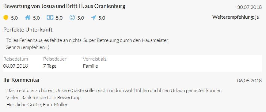 Bewertungen von Familie H. aus Oranienburg